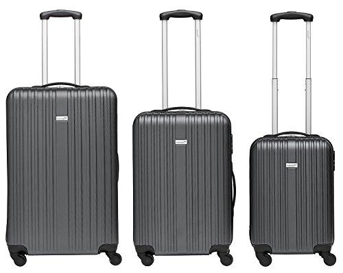 Packenger Kofferset - Line - 3-teilig (M, L & XL), Grau, 4 Rollen, Koffer mit Zahlenschloss, Hartschalenkoffer (ABS) robuster Trolley Reisekoffer