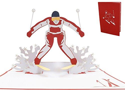 LIN17497, POP - UP Karten Sport, POP UP Karten Geburtstag, 3D Grußkarten Klappkarten Geburtstagskarte Gutschein für Skifahrer Ski, N270
