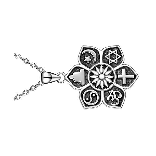 Collar de Buda con colgante de flor de plata de ley con cruz de estrella y yoga espiritual