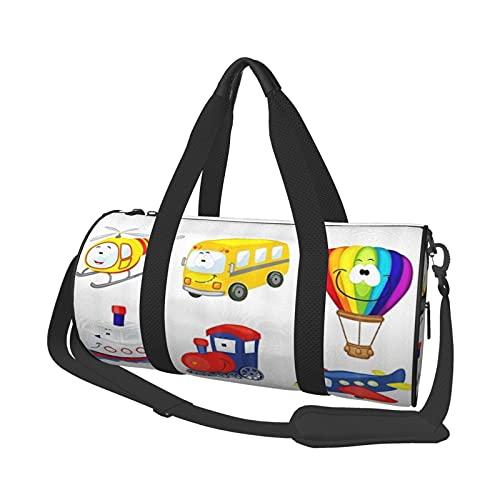 ADONINELP Reisetasche Reisetasche Happy Transportation Modellauto Wohnmobil Heißluftballon Schiff Zug , Zylinder Reisetasche Mode Leinwand Leichte Tragegurt Gepäcktasche