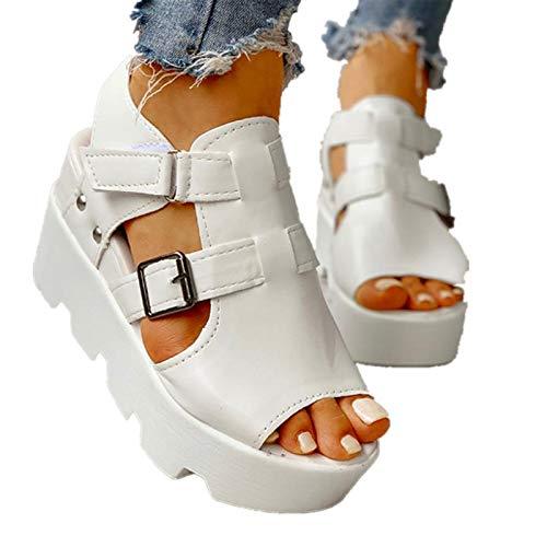 Eduavar Platform Sandals for Women Heels 90S Women's Wedge Sandals Platform Sandals Cork Elastic Strap Sandals White