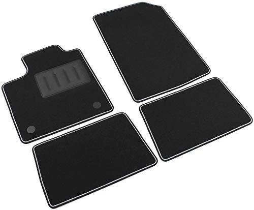 Il Tappeto Auto Fußmatten aus Teppichstoff, Farbe: Schwarz, rutschfest, zweifarbiger Rand, mit Gummi verstärkter Absatzschoner, für Twingo II Baujahr 2007-2014