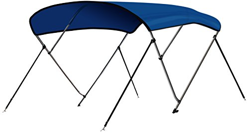 """Leader Accessories 3 Bow Pacific Blue 6'L x 46"""" H x 73""""-78"""" W Bimini Top Boat Cover 4 Straps for Front and Rear Includes Mounting Hardwares with 1 Inch Aluminum Frame"""