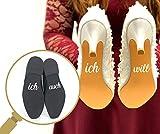 Pegatinas para zapatos de boda, juego de pegatinas para zapatos con texto'Ich will' y'ich auch' para novia y novio, pegatinas, calzado adhesivo dorado