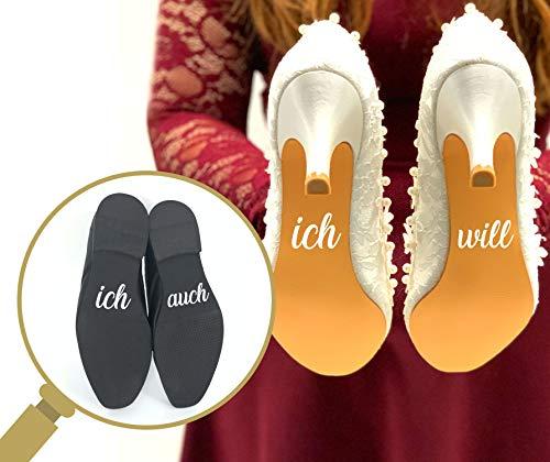 P023 Schuhaufkleber Hochzeit Set Schuhsticker Aufschrift