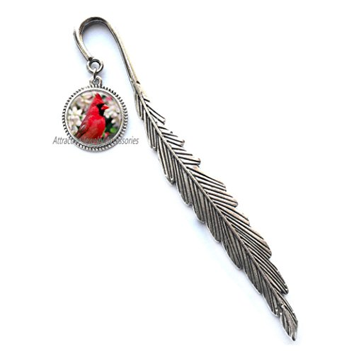Cardinal Bird with Flowers Bookmarker Glass Bookmarker Bookmark Cardinal Jewelry Cardinal Bookmarker,QK010 (Q1)