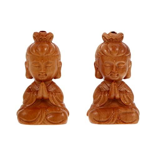 EXCEART 2 Piezas de Llavero de Oración Buda Sentado Encanto de Madera Estatuilla de Buda 3D Colgante de Llavero Joyería Antigua Encanto de Feng Shui para Viajar con Seguridad Riqueza