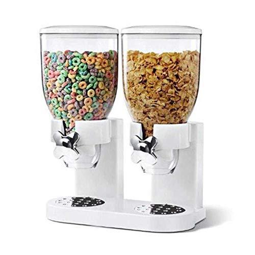 ASDAD Getreidespender Doppelkanister Transparenter Lebensmittelspender Aus Kunststoff Für Die Aufbewahrung Von Trockenfrühstückszerealien Und Süßigkeiten Höhe 40 cm / 16 Zoll Weiß,White