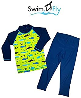 SwimFly Boy Printed Two Piece Swimsuit Long Sleeve with UPF50+ (10T) [並行輸入品]
