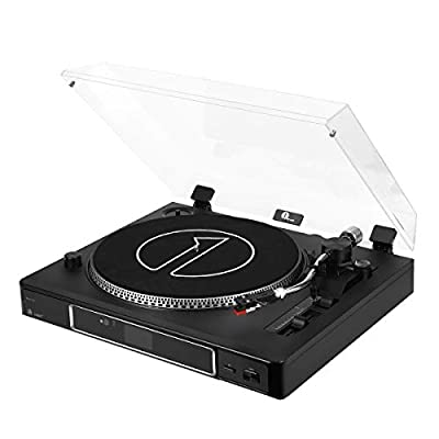 1byone Record Player 3-Speed Semi-Automatically Belt-Driven Turntable with Magnetic Cartridge, Adjustable Counterweight, USB Vinyl to MP3