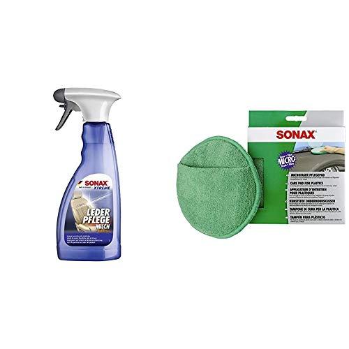 SONAX Xtreme LederPflegeMilch (500 ml) Zur schonenden Reinigung & MicrofaserPflegePad (1 Stück) für gleichmäßiges Auftragen von Kunststoffpflegemitteln im Innenraum