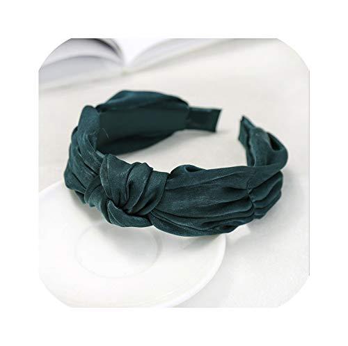 Bandeau doux pour femme - Style turban - Vert foncé