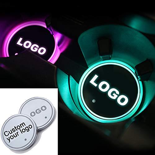 LZLRUN 2pcs Custom Logo LED Car Cup Holder Lights, 7 Colors Changing USB...
