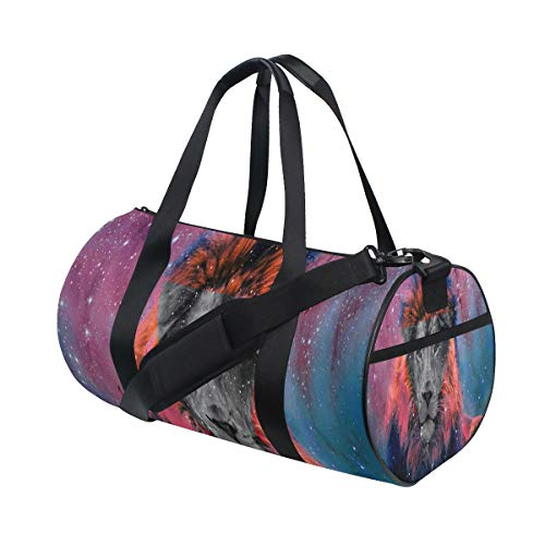 Foldable Duffle Bag Galaxy Tumblr Tiger Lightweight Travel Sports Gym Bags Overnight for Women Men