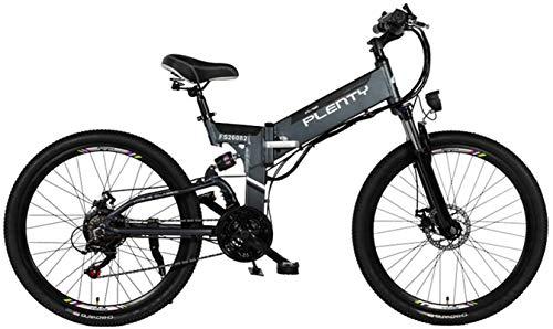 RDJM Bici electrica Eléctrica de Bicicletas de montaña, 24'/ 26' Bicicletas híbrido / (48V12.8Ah) 21 Velocidad 5 Power System Archivos, Frenos Doble E-ABS de Disco mecánicos, de Gran Pantalla LCD de