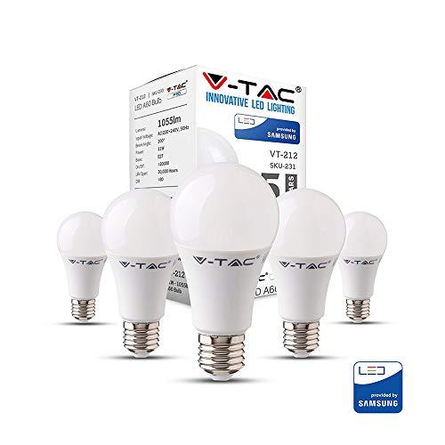 V-TAC E27 LED Lampe, 11W (ersetzt 75W), Warmweiß, 5er-Pack