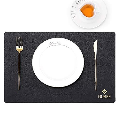 GUBEE Platzset,PU Leder Tischsets und Untersetzer 2er-Set, Platzdeckchen,rutschfeste, Waschbare Kaffeematten, Hitzebeständige Küchen Tischsets für Küche, Zuhause, Restaurant, Speisetisch (schwarz)