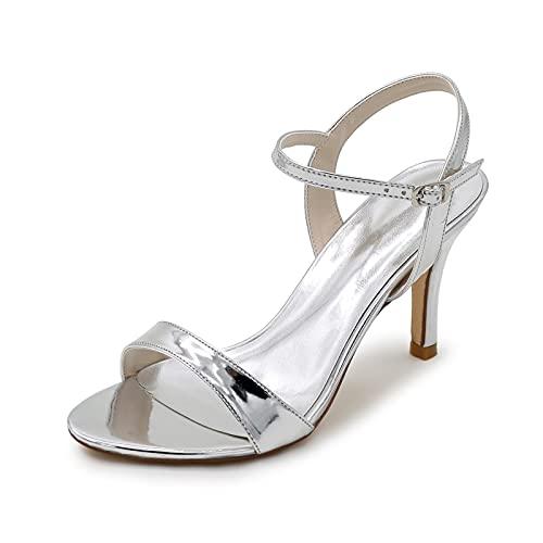 Zapatos De Boda Plateados para Mujer Tacones Altos con Punta Abierta Hebilla...