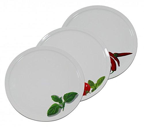 Porzellan Pizza & Pasta Teller - Ø 30,5 cm - Pizzateller - Pastateller - Nudelteller - Grillteller - Peperoni, Basilikum oder Tomate, Motive:Basilikum