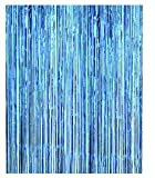 Asunflower 6.5Ft Metallic Tinsel Light Blue Foil Fringe Curtains New Year Hanging Streamers for Party/Prom/Birthday Favors