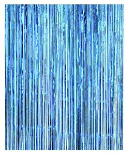 Asunflower 9.8Ft Metallic Tinsel Light Blue Foil Fringe Curtains New Year Hanging Streamers for Party/Prom/Birthday Favors