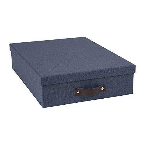 Bigso Oskar Canvas Fiberboard Document Letter Box, 3.3 x 10.2 x 13.8 in, Blue