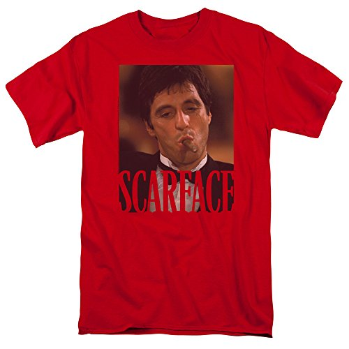 Scarface Smoking Cigar Unisex Adult T Shirt for Men and Women, X-Large Red