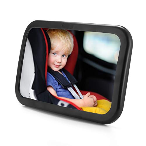 OMBAR Miroir voiture bébé, Rétroviseur Voiture Bébé avec Sangles Elastiques Réglables,Miroir de Auto Avez Rotation 360° et résistant aux chocs, utilisé sur le Siège Arrière