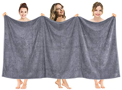 American Soft Linen 40x80 Inch Premium, Soft & Luxury Ringspun Cotton 650 GSM Oversized Turkish Bath Towel for Maximum Softness & Absorbent [Worth $64.99] - Dark Grey