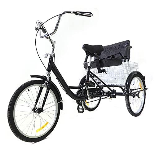 Triciclo de 20 pulgadas para adultos, triciclo de compras con cesta de 3 ruedas, para adultos, bicicleta cómoda, color negro