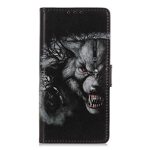 LMFULM® Hülle für HTC Desire 19 Plus (6,2 Zoll) PU Leder Magnet Brieftasche Lederhülle Wütend Gepard Muster Stent-Funktion Ledertasche Flip Cover für HTC 19 +