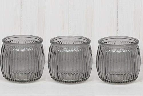 Homes on Trend Set of 3 Ribbed Glass Tea Light Votive Candle Holders Wedding Table Decorations Centrepiece Settings Vintage Tealight Holder (Grey)
