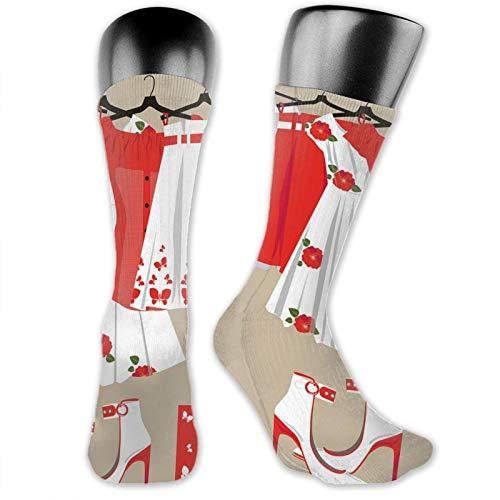 DHNKW Socks Compression Medium Calf Crew Sock,Summer Young Womens Clothing On Hangers Handbag Shoes Feminine Wardrobe