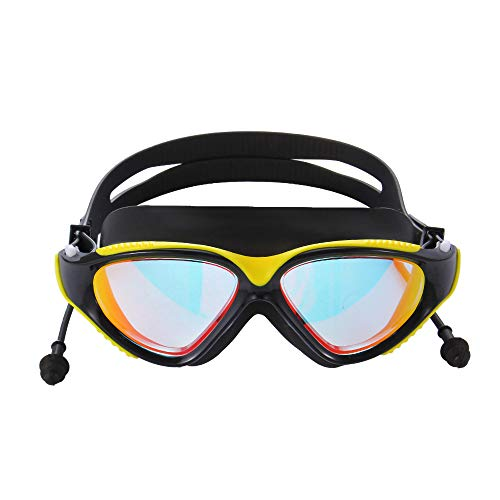 Advanced Silicone Swim Goggles, Swimming Goggles Waterproof Anti-Fog UV Protection,No Leaking Wide View Hypoallergenic Silicone Pad Goggles for Adult Women Men Youth Kids, Yellow Black