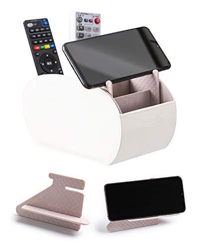 Scatola portaoggetti in pelle per TV, ricevitore, con 5 spaziosi scomparti, multifunzione, in pelle, porta telecomando per TV, ricevitore, DVD, ripiano universale (bianco)