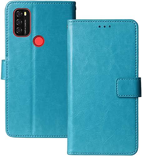 YundEU Leder Hülle für Blackview A70,Retro Ölwachs Premium Pu Leder Magnet Ständer Klapptasche Kartenfäche Flip Schutzhülle Tasche Brieftasche Handyhülle, Himmelblau