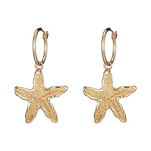 Haodou - Pendientes de estrella para mujer, estilo vintage, de metal, para mujer y niña, color dorado