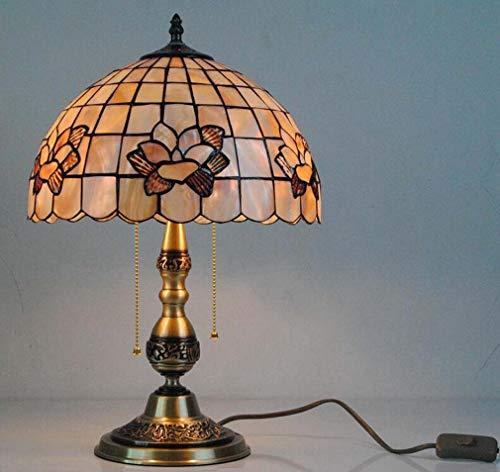 Tiffany-tafellamp met koperen voet, 30,5 cm (12 inch), motief magnolia bloesem, beschilderde schelpen, bureaulamp, woonkamerlamp, E27, 110-240 V