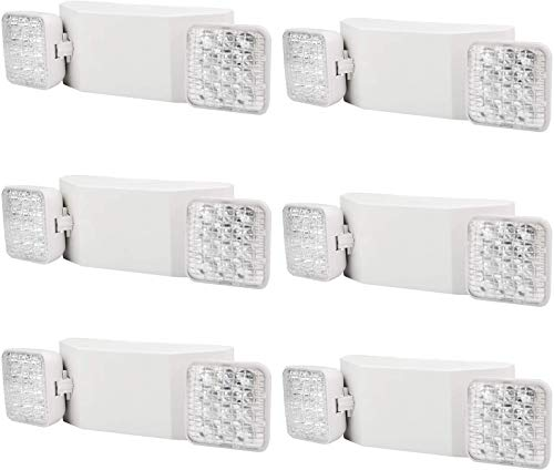 YANREN Commercial Emergency Light, UL Certified, White Emergency Light Fixture with 2 LED Square Heads Adjustable & Backup Batteries Exit Lighting(6Pack)