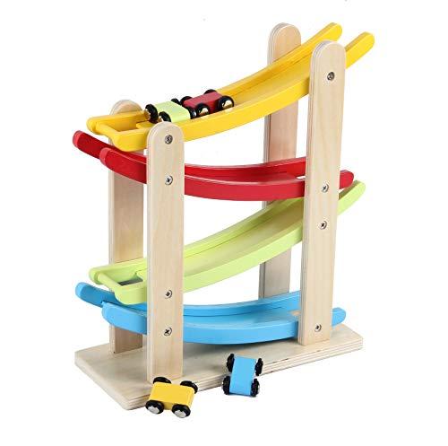 B&Julian® Auto-Rennbahn Holz Kugelbahn Murmelbahn mit 4 Autos Spiel für Kinder Baby Motorik Spielzeug 1 Jahre