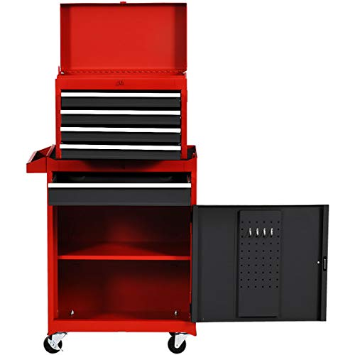 Goplus 5-Drawer Rolling Tool Chest, Tool Storage Box, Removable Tool Cabinet, Sliding Metal Organizer w/Lockable Drawers (Red+Black)