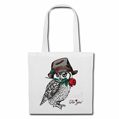 sac à bandoulière OWL UHU AVEC CHAPEAU ET ROSES LIFESTYLE FASHION STREETWEAR HIPHOP SALSA LEGENDARY Sac Turnbeutel scolaire en blanc
