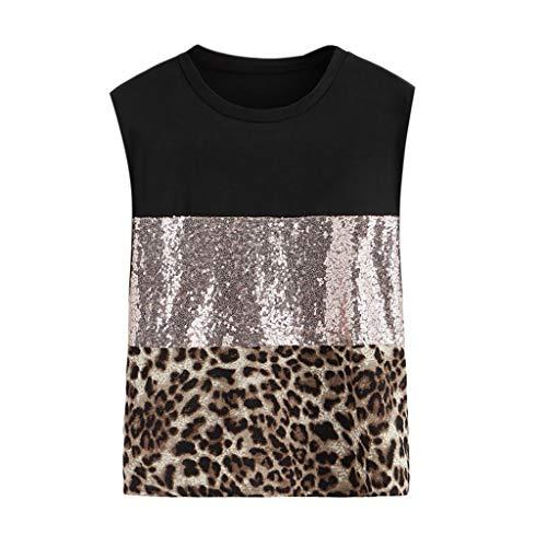 Longra dames-t-shirt, chique, zomer, korte mouwen, van chiffon, modieus, Pacthwork, luipaardprint, voor dames