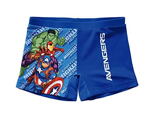 Avengers Badeshorts für Jungen, Badeanzug Boxershorts, Badehose, Schnelltrocknend Atmungsaktiv, 8 Jahre | Blau