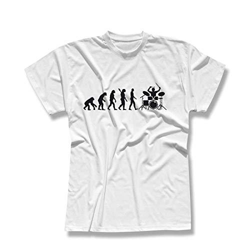 T-Shirt Evolution Drummer Schlagzeug Tama Pearl Gretsch Evo Yamaha Ludwig Roland Remo Band Musik Musiker 13 Farben Herren XS-5XL, Größe:3XL, Farbe:Weiss - Logo schwarz