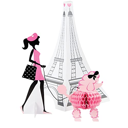 Creative Converting 3 Piece Party in Paris Centerpiece Set, Pink/Black