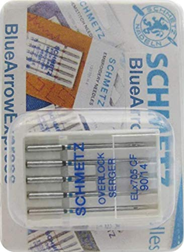 BlueArrowExpress 3 X SCHMETZ Chrome Finish Overlock / Serger Needles ELx705 CF 90/14 FOR Elna, Babylock, Bernina, Brother, Janome, Sears, Juki, Singer, Pfaff, Viking, White