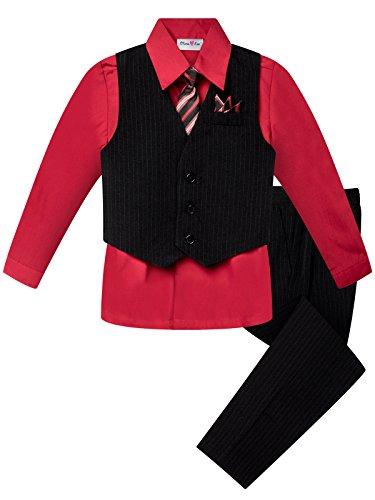 OLIVIA KOO Boys Colored Shirt Pinstripe 4 Piece Pinstriped Vest Set Size Infant-Boy,Red,4T