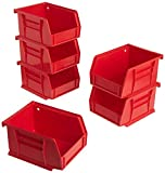 Akro-Mils 08212RED 30210 AkroBins Plastic Storage Bin Hanging Stacking Containers, (5-Inch x 4-Inch x 3-Inch), Pack of 6, Red