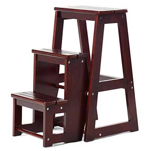 COSTWY Escalera Silla de Madera Plegable Multifunción Escalera Banqueta Taburete Estantería Escalón para Baño Hogar Decoración (Marrón oscuro)